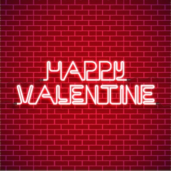 Happy valentine's day background with bright pink vector neon heart on red brick walls