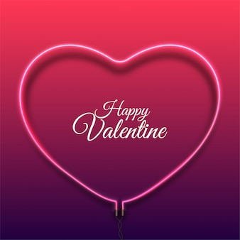 Happy valentine's day background with bright pink vector neon heart