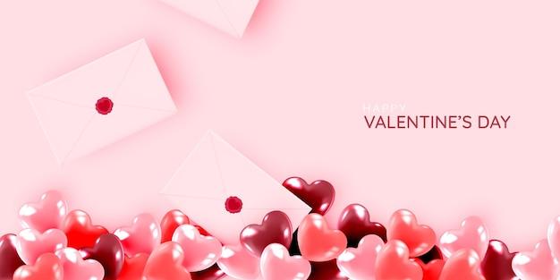 С днем святого валентина фон с милой и прекрасной иллюстрацией стиля