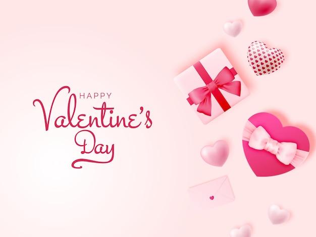キュートで素敵なスタイルのイラストと幸せなバレンタインデーの背景
