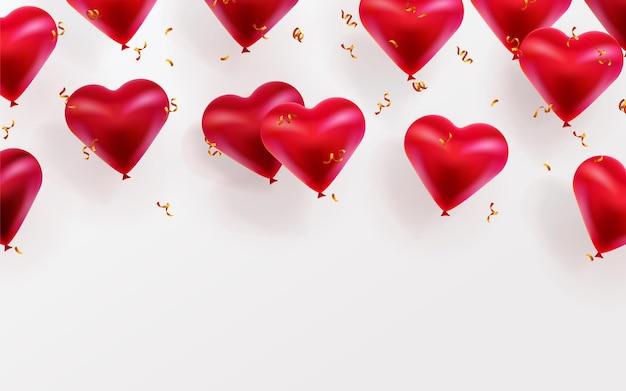 С днем святого валентина фон с летающими шарами глянцевых сердечек