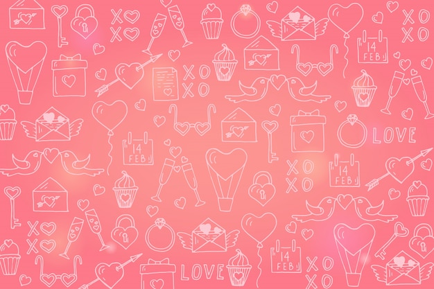 Happy valentine's day background with hand drawn love symbols for valentine's day.