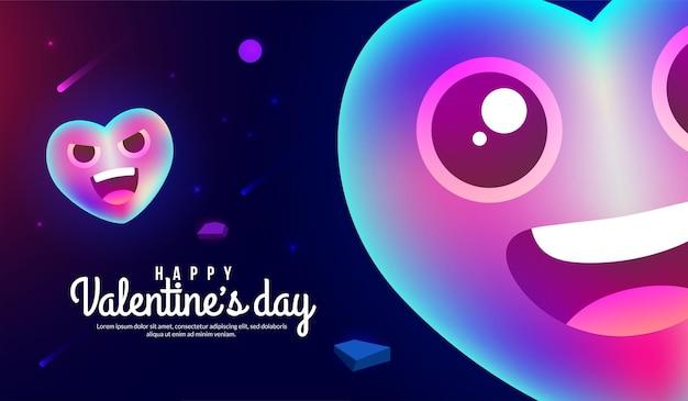 판타지 라이트 스타일의 공간에 마음으로 해피 발렌타인 데이 배경