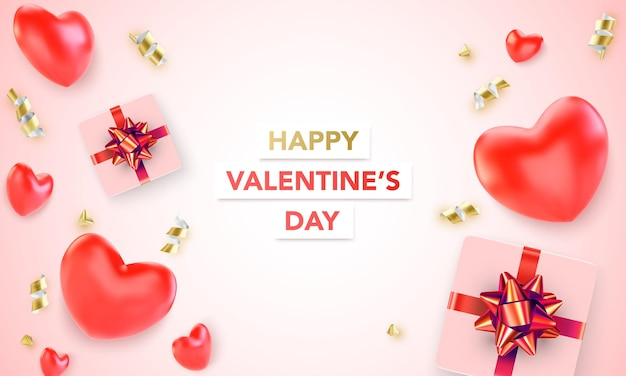 Happy valentine's day background with heart and present