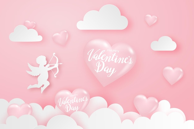 Happy valentine's day background with hearts, cupid and clouds, festive banner.