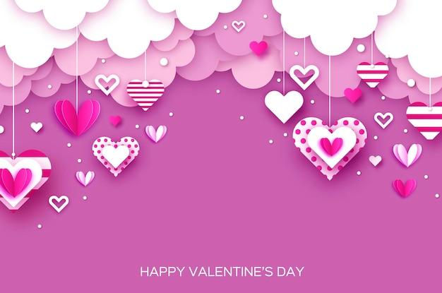 紙カットハートと幸せなバレンタインデーの背景。フライングラブハーツ