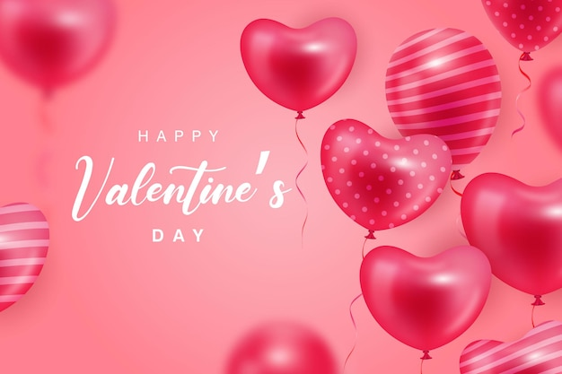 Happy valentine's day background with realistic heart balloon