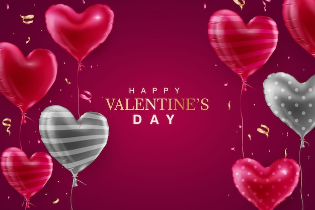 Happy valentine's day background with realistic red and grey balloon
