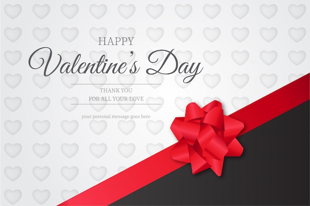 Happy valentine's day background with red ribbon