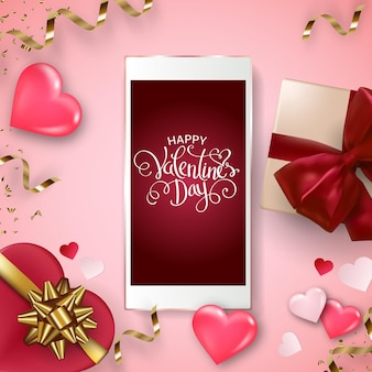 Happy valentine's day background with smartphone, gift box, hearts and bows.