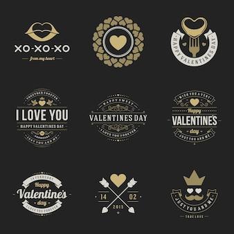 С днем святого валентина значки винтажный дизайн типографии