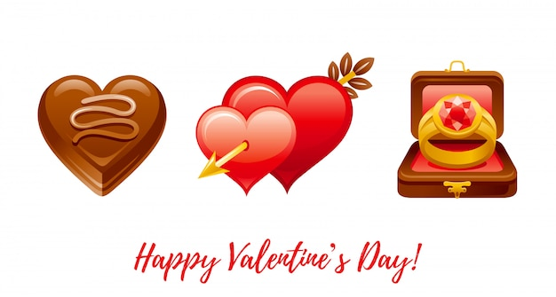 Happy valentine's day banner. cartoon cute chocolate heart candy, hearts with arrow, ring in box.