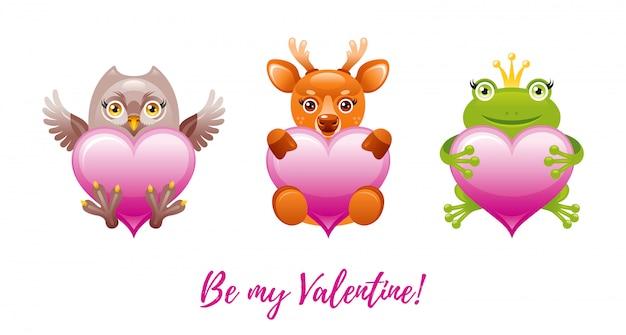 幸せなバレンタインデーのバナー。おもちゃの動物-フクロウ、鹿、カエルと漫画のかわいい心。
