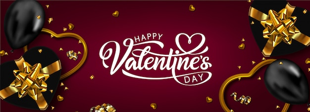 Happy valentine's day banner design.