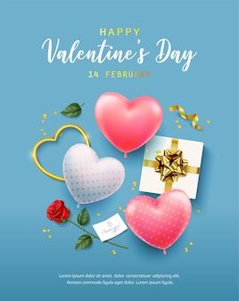 행복한 발렌타인 데이. 배너, 전단지, 포스터, 인사말 카드