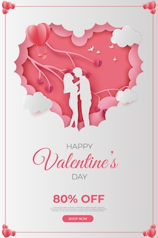 Happy valentine's day banner paper cut style.