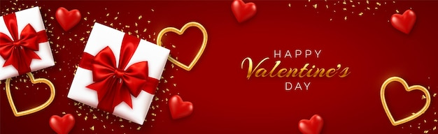 Happy valentine's day banner template. realistic gift boxes with red bow