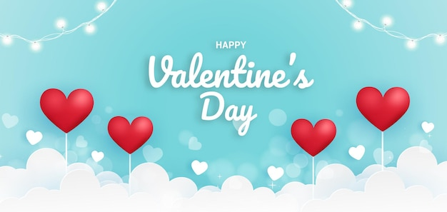 С днем святого валентина баннер с сердечками.