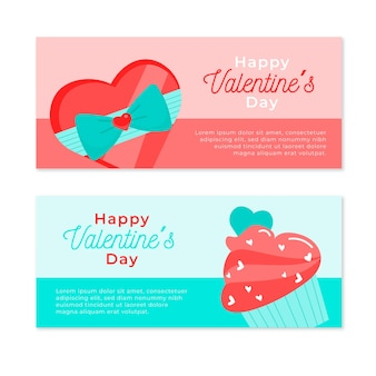 Happy valentine's day banner with candies and chocolate