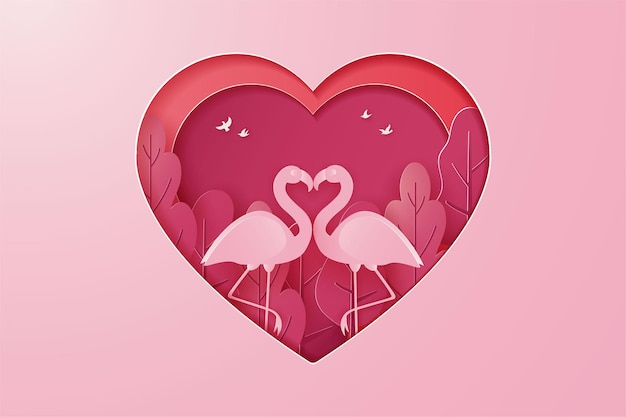 Happy valentine's day banner with couple goose or swan love and tree paper cut style