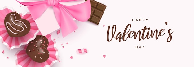 Happy valentine's day banner with cute heart desserts, chocolate bar, gift box
