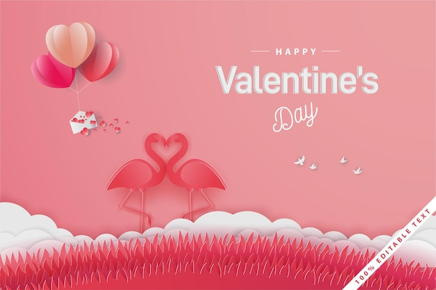 Happy valentine's day banner with flamingo love with balloon and field