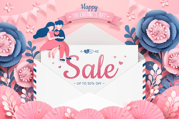 Happy valentine's day banner with love letter and dating couple in paper flower garden, 3d illustration