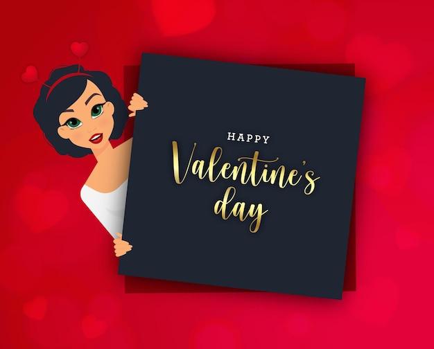 素敵な女の子と赤いハートの幸せなバレンタインデーのバナー