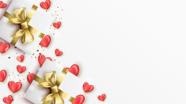 Happy valentine's day banner with realistic hearts