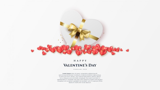Happy valentine's day banner with realistic hearts.