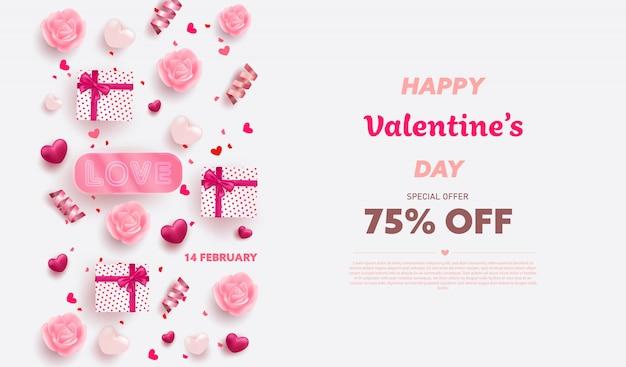 레드와 핑크 럭셔리 하트, 선물 상자, 리본 및 사랑스러운 요소와 해피 발렌타인 배너.