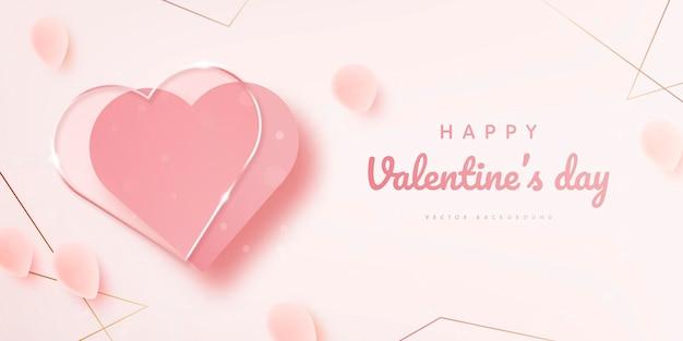 С днем святого валентина баннер с декором из розовых лепестков