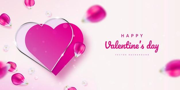 Баннер с днем святого валентина с декором из лепестков розового тюльпана