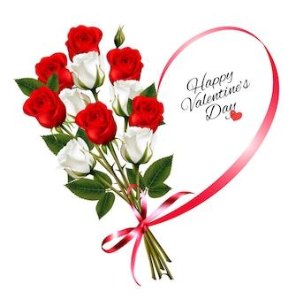 幸せなバレンタインデーのバラと赤いリボンの美しい背景
