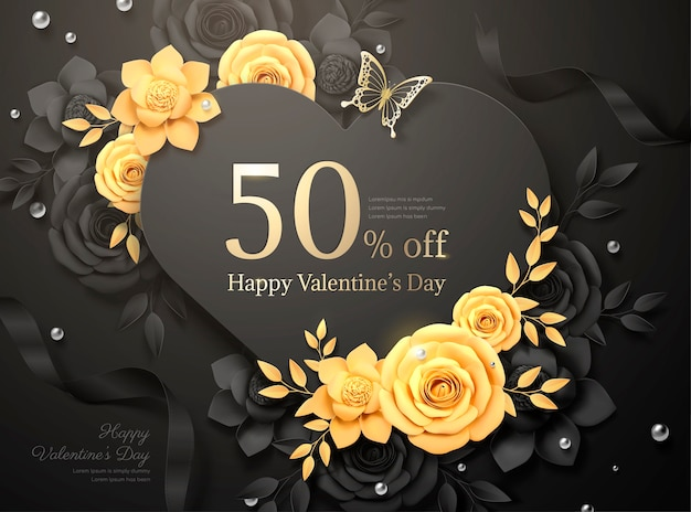 Happy valentine's day black paper roses and ribbon in 3d illustration Premium Vector