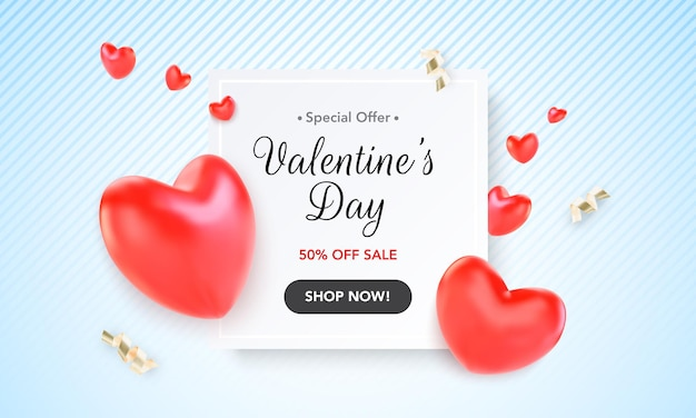 Happy valentine's day blue background with heart and present composition for a trendy banner