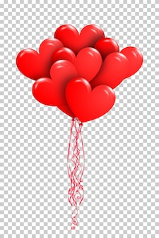 Happy valentine's day. bunch of red air balloons in the shape of heart