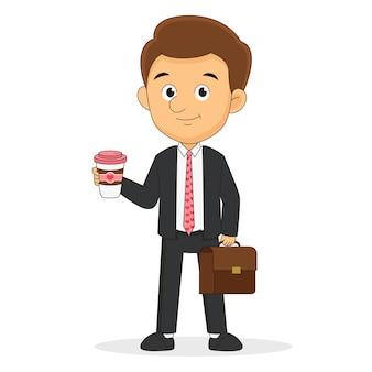 幸せなバレンタインデー、ビジネスマンはコーヒーブレイクを持っています