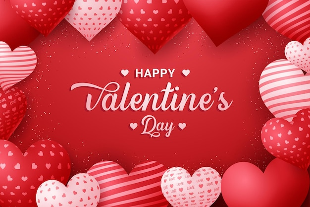 С днем святого валентина каллиграфический фон с 3d сердцами