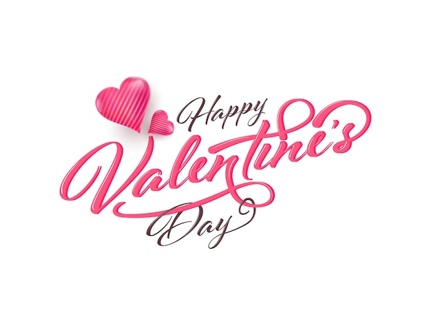 Happy valentine's day calligraphy with glossy hearts on white background.