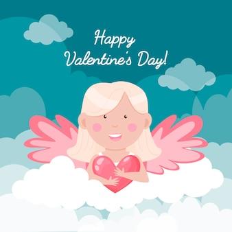 С днем святого валентина карты. ангел с сердцем в облаках.