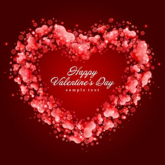 Дизайн карты с днем святого валентина и красная рамка из сердец