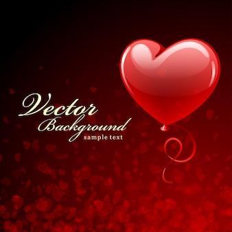 Дизайн карты с днем святого валентина и воздушный шар с красным сердцем