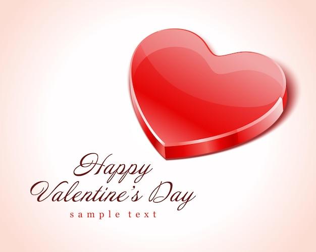 С днем святого валентина дизайн карты и красное блестящее сердце