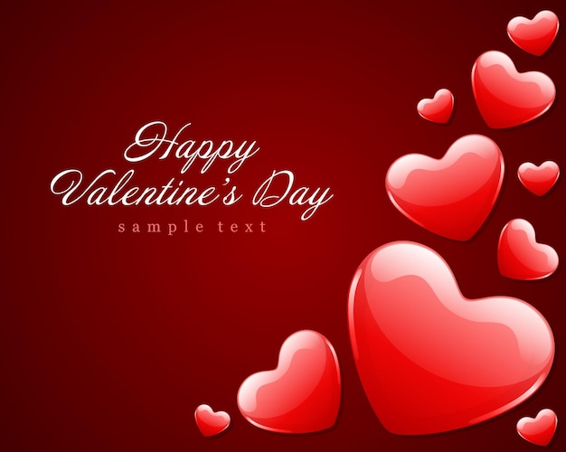С днем святого валентина дизайн карты и красные блестящие сердца