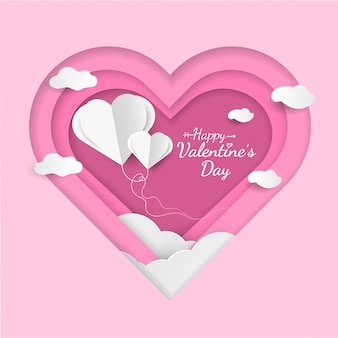 Happy valentine's day card design with heart shaped balloons.
