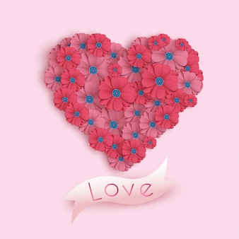 Happy valentine's day card in paper art style. holiday banner with paper flowers. festive  illustration.