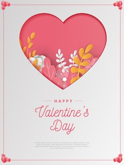 Happy valentine's day card paper cut style.