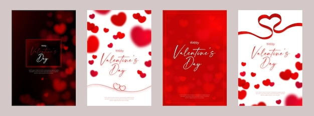 Happy valentine's day card template design with red heart symbol
