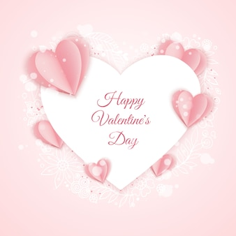 Happy valentine s day card template with paper pink and heart shaped